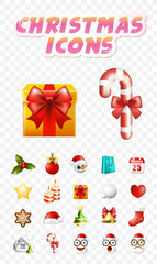 Christmas Time ! Set of Elements on Transparent Background . Isolated Vector Illustration