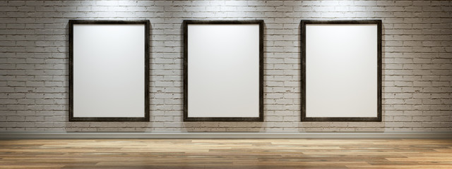 White canvas on the wall of the gallery