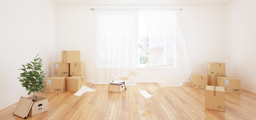 Interior with moving boxes in empty white room
