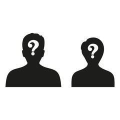 Male and female silhouette icon -query sign