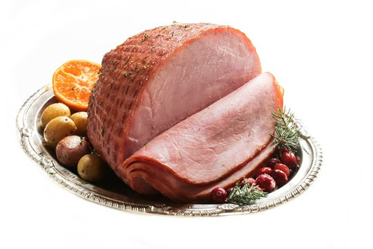 Holiday Ham isolated on white, selective focus