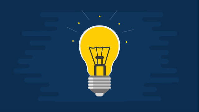 Light bulb on a blue background. Vector flat illustration. Concept idea for business