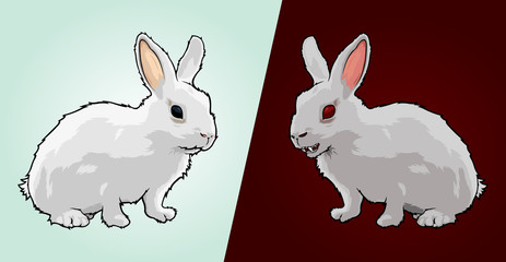 Vector isolated white good rabbit and evil rabbit with sharp teeth