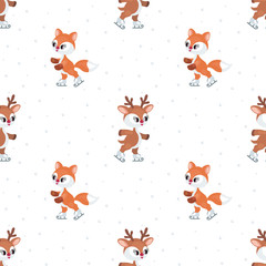 Christmas seamless pattern with the image of the little cute deer and red fox. Vector background.