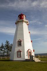 Panmure Island Lighthouse, PEI against blue skies