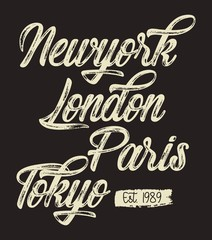 design vector typography new york london paris tokyo for t shirt print