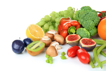 Printed roller blinds Vegetables Composition of different fruits and vegetables on white background