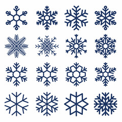 Set of vector snowflakes. Snowflake texture for decoration. Geometric snow symbol