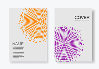 Brochure template with halftone design. Annual report, magazine, flyer