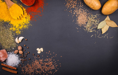 Fresh vegetables, Spices and herbs scattered on dark background. Natural and bio ingredients for cooking. Organic products on slate tray. Top view and copy space for your text.