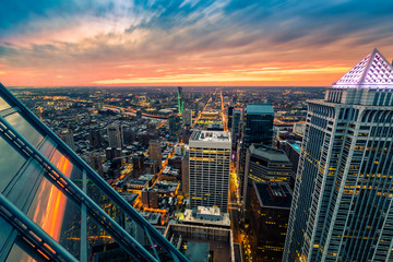 Fotomurales - Philadelphia aerial perspective at sunset.