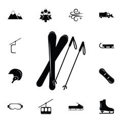 skis and a sticks icon. Set of elements Christmas Holiday or New Year icons. Winter time premium quality graphic design collection icons for websites, web design, mobile app