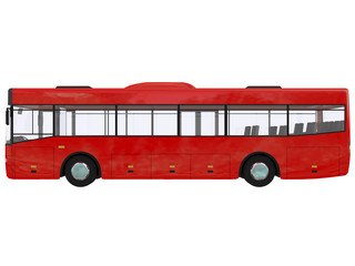 red City Bus urban Isolated on a white background transmilenio 3D rendering