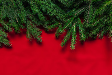 Christmas background. red background. Real tree