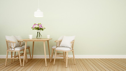 dining area in home or restaurant on green tone wall - Interior design for artwork - 3D Rendering
