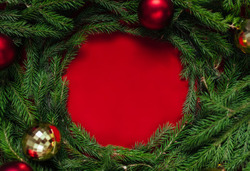 Christmas background. Balls of gold and red. Toys.