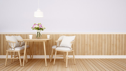dining area in coffee shop or restaurant on green tone - Interior design for artwork - 3D Rendering