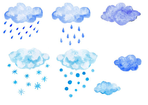 Set of blue watercolor clouds with precipitation