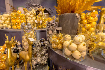 Balls and decoration in golden colors
