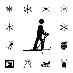 Skiing icon. Set of elements Christmas Holiday or New Year icons. Winter time premium quality graphic design collection icons for websites, web design