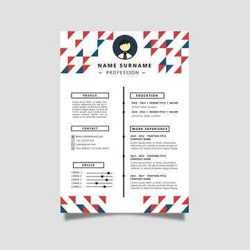 Curriculum Vitae with Blue snd Red Color