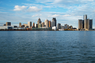 Detroit Panoramic Skyline Shot From Canada across the Detroit River