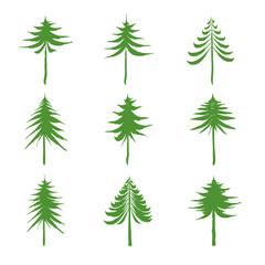 Set of green Christmas Trees. Drawing Vector illustration.