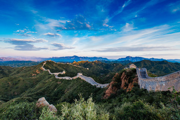 Foto op Plexiglas Chinese Muur Beijing, China - AUG 12, 2014: Sunrise at Jinshanling Great Wall of China