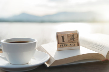 February 14th wooden calendar and coffee cup