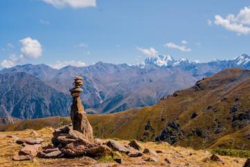 Panoramic view of the peak of Talgar from peak of Furmanov in Almaty region, Kazakhstan
