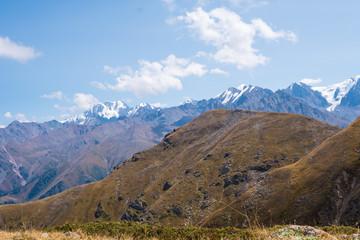 Panoramic view of the peak of Talgar. Mountain landscape in Kazakhstan, Almaty region