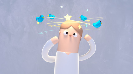 Cartoon dizzy stars and birds flying around the head. 3d rendering picture.