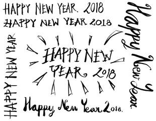 Set of 2018 number new year illustration Hand drawn doodle Sketch line vector eps10