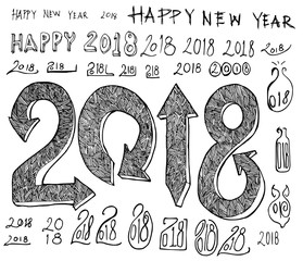 Set of 2018 number new year illustration Hand drawn doodle Sketch line vector eps10
