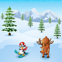 Cute penguin skiing with deer in the snowing hill