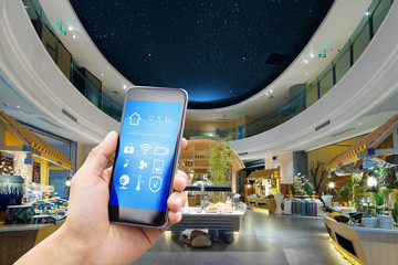 smart phone with smart home with modern hall