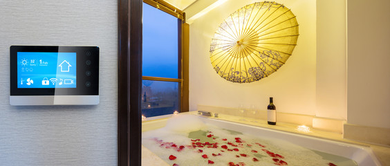 smart screen with smart home with modern spa bathroom