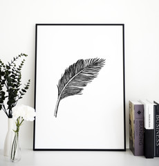 Closeup of feather photo frame