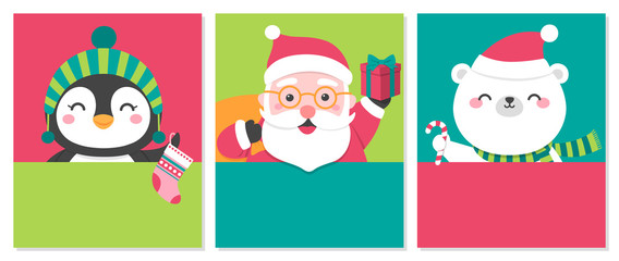 Set of cute cartoon illustration with copy space for christmas and new year card template
