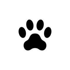 Cat paw print. Footprint. Animal paw isolated on white background