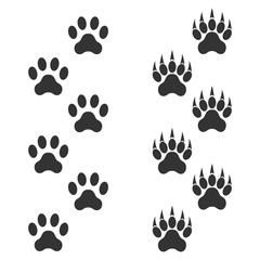 Dog paw and tiger paw with claws. Trace animal. Black footprints isolated on white background