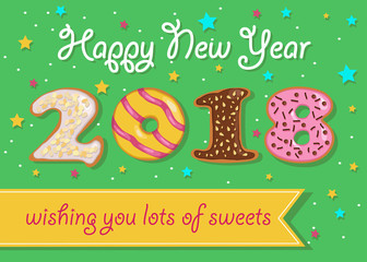 Happy New Year 2018. Sweet donuts numerals