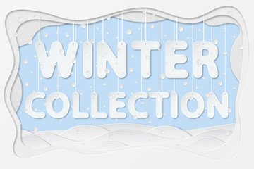 vector illustration of winter collection lettering as layered paper cutting art design