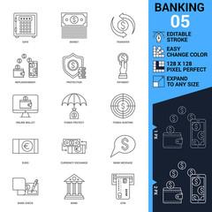 Banking icons set. Thin Line Vector Illustration