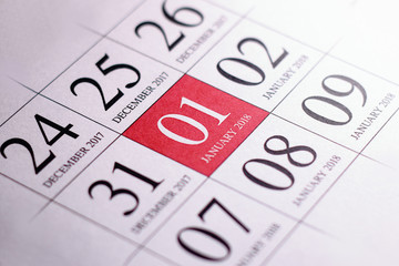 Close up of first day of the year 2018 on diary calendar.