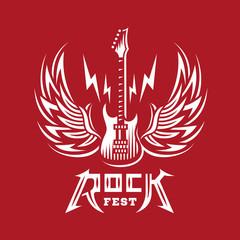 Rock sign, gesture for music festival - logo, illustration on a red background