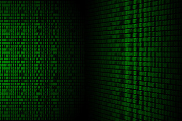 An image of a binary code made up of a set of green digits on a black background