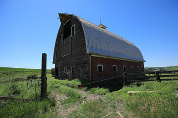 Red Barn Out in Rural in Palouse Washington