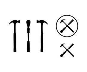 Black Hammer and Chisel Tool Cross with Circle for Woodworker Illustration Logo Symbol