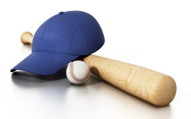 Baseball cap, ball and bat isolated on white background. 3D illustration